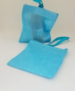 Crushed Blue Fabric Bag