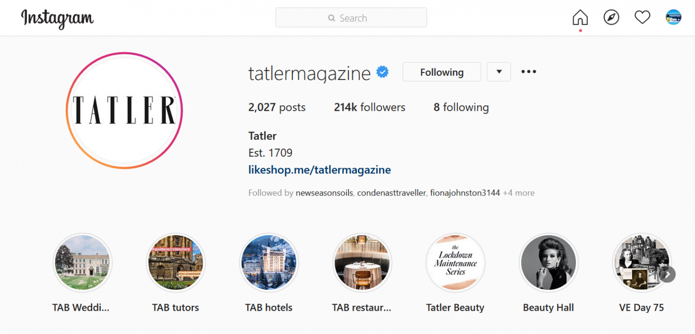 TATLER AUG2020 Instragram